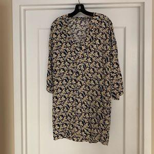 Printed smock shirt dress.